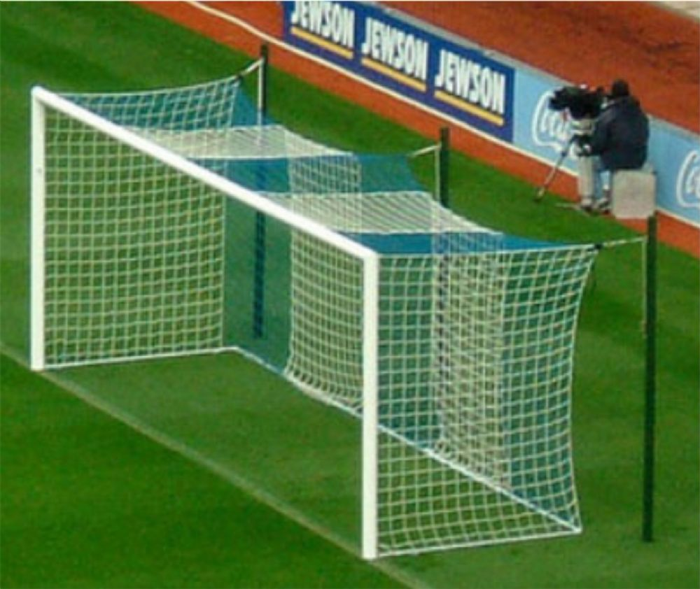 Striped goalpost netting - Box shaped - regualtion size  24'x8'